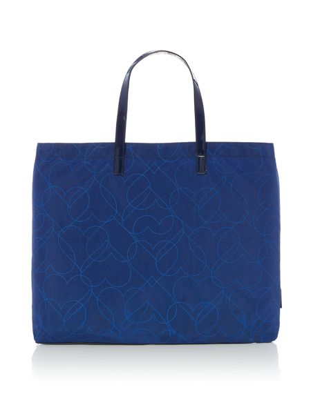 Armani Jeans Navy heart print fold up tote bag