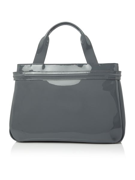 Armani Jeans Grey top zip patent tote bag