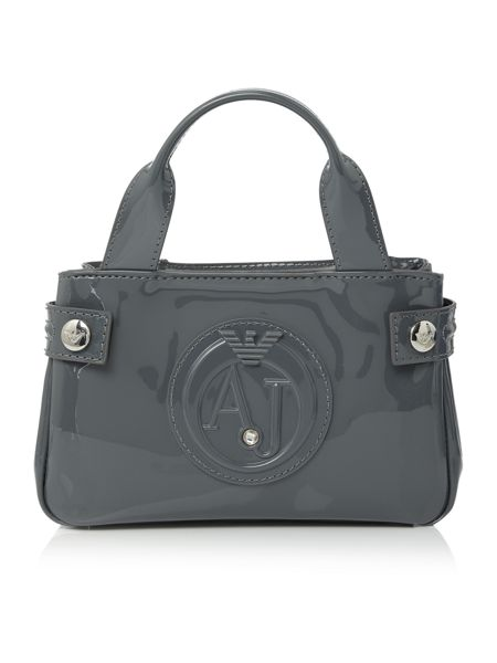 Armani Jeans Grey small patent tote bag