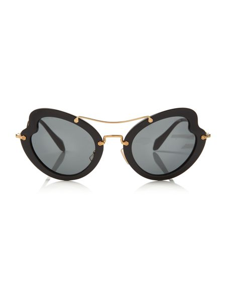 Miu Miu Black irregular 0MU 11RS sunglasses