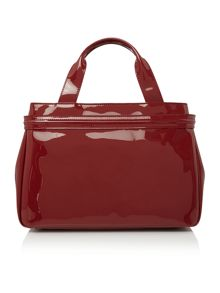 Armani Jeans Red top zip patent tote bag