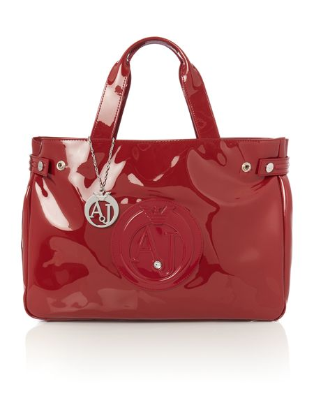 Armani Jeans Red patent tote bag