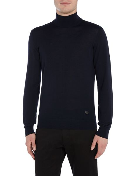 Armani Jeans Double hem roll neck patch logo jumper