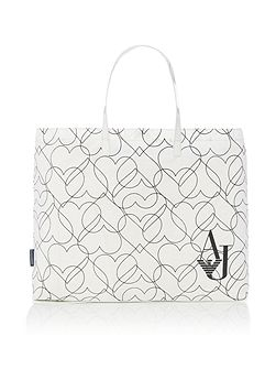 White heart print fold up tote