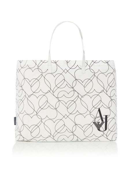 Armani Jeans White heart print fold up tote