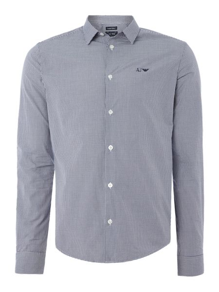 Armani Jeans Regular fit gingham logo shirt