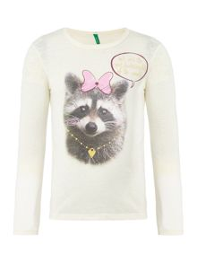 Benetton Girls Cute Racoon Top