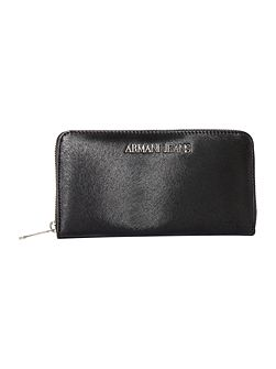 Eco leather black large ziparound purse