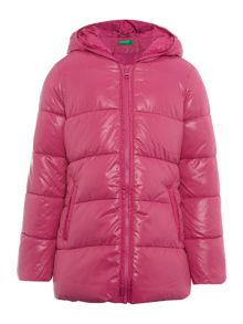 Benetton Girls Zip Up Padded Coat With Hood