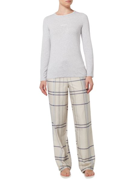 DKNY Long sleeve bedford jersey top and pant pj set