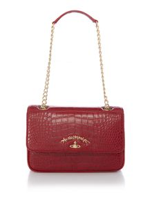 Vivienne Westwood Dorset red flap over shoulder bag
