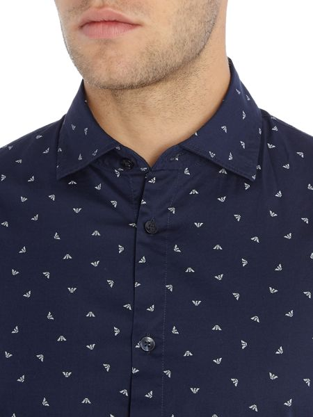 Armani Jeans Regular fit scattered eagle logo shirt