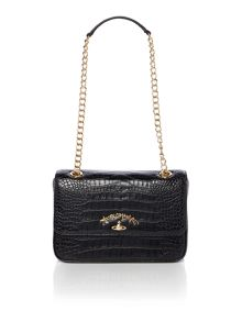 Vivienne Westwood Dorset black flap over shoulder bag