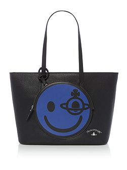 Happy black large tote bag