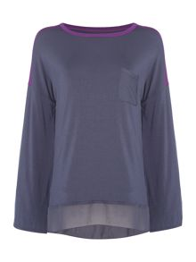 DKNY Modal sheer panel lounge top