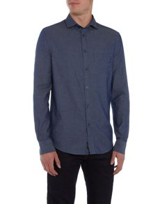 Armani Jeans Regular fit fine stripe pocket logo shirt