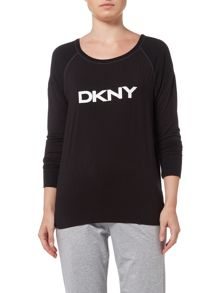 DKNY Plaid town logo cuff sleeve top