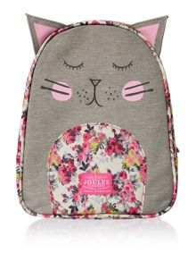Joules Girls Small Floral Cat Rucksack