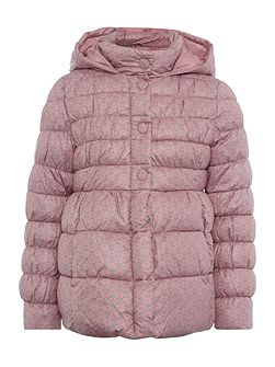 Girls Floral Print Padded Coat