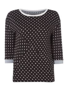 DKNY 3/4 sleeve dotted lounge top