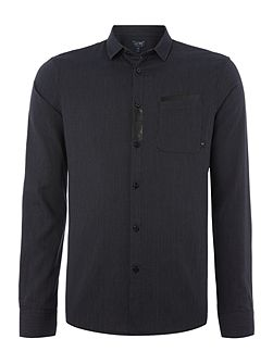 Regular fit birdseye rubber pocket detail shirt