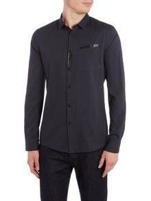 Armani Jeans Regular fit birdseye rubber pocket detail shirt