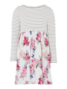 Joules Girls Stripe & Floral Long Sleeve Dress