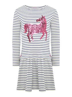 Girls Stripe Drop Waist Dress with Sequin Horse
