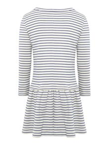 Joules Girls Stripe Drop Waist Dress with Sequin Horse