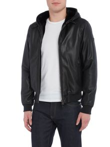 Armani Jeans Faux leather jacket with fur lined hoody