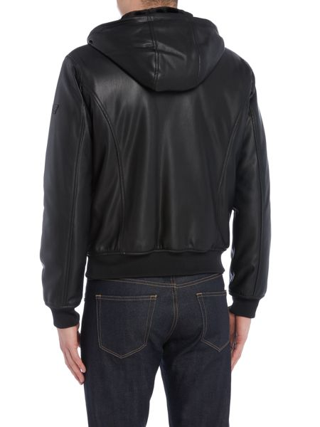 Armani Jeans Faux leather jacket with faux fur lined hoody