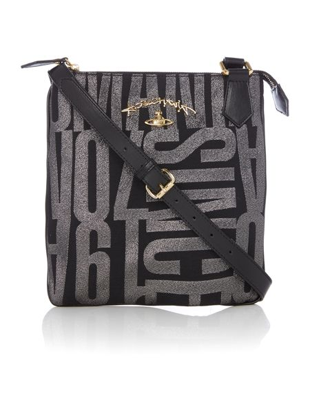 Vivienne Westwood Anglo jacquard black small cross body bag