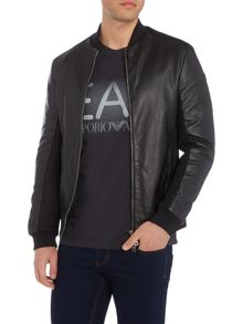 Armani Jeans Mesh detail leather bomber jacket