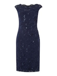 Lauren Ralph Lauren Kaden cap sleeve sequin shift dress