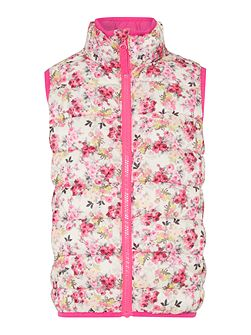 Girls Floral Padded Pack Away Gilet
