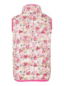 Joules Girls Floral Padded Pack Away Gilet