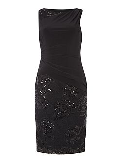 Boat neck sequin dress