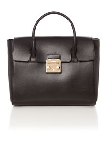 Furla Black medium fold over tote bag