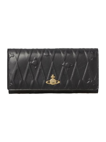 Vivienne Westwood Diamond orb black flapover purse
