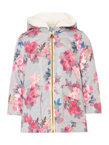 Joules Girls Floral Fleece Lined Coat
