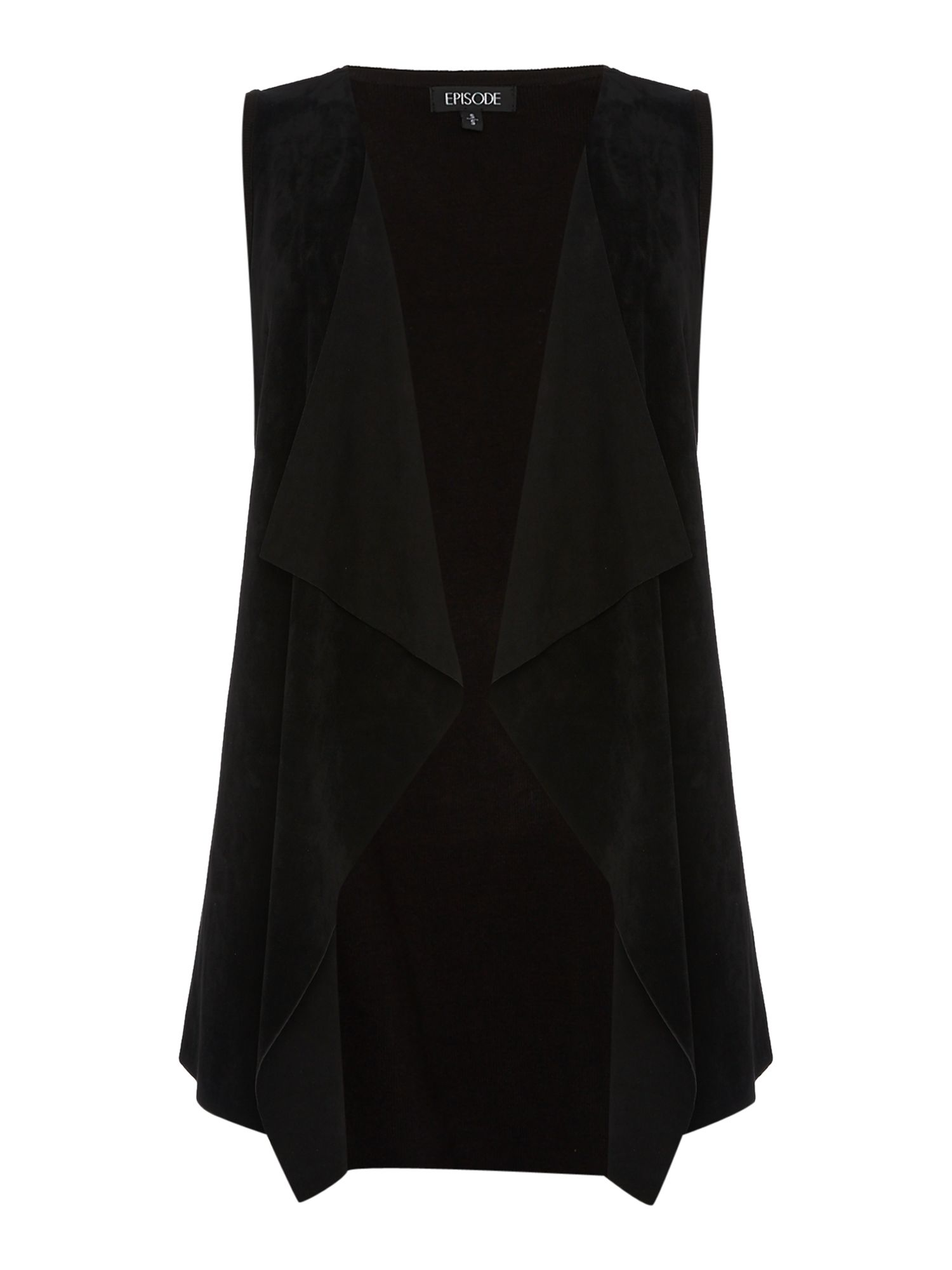 Episode Episode Sleeveless Suede Gilet, Black
