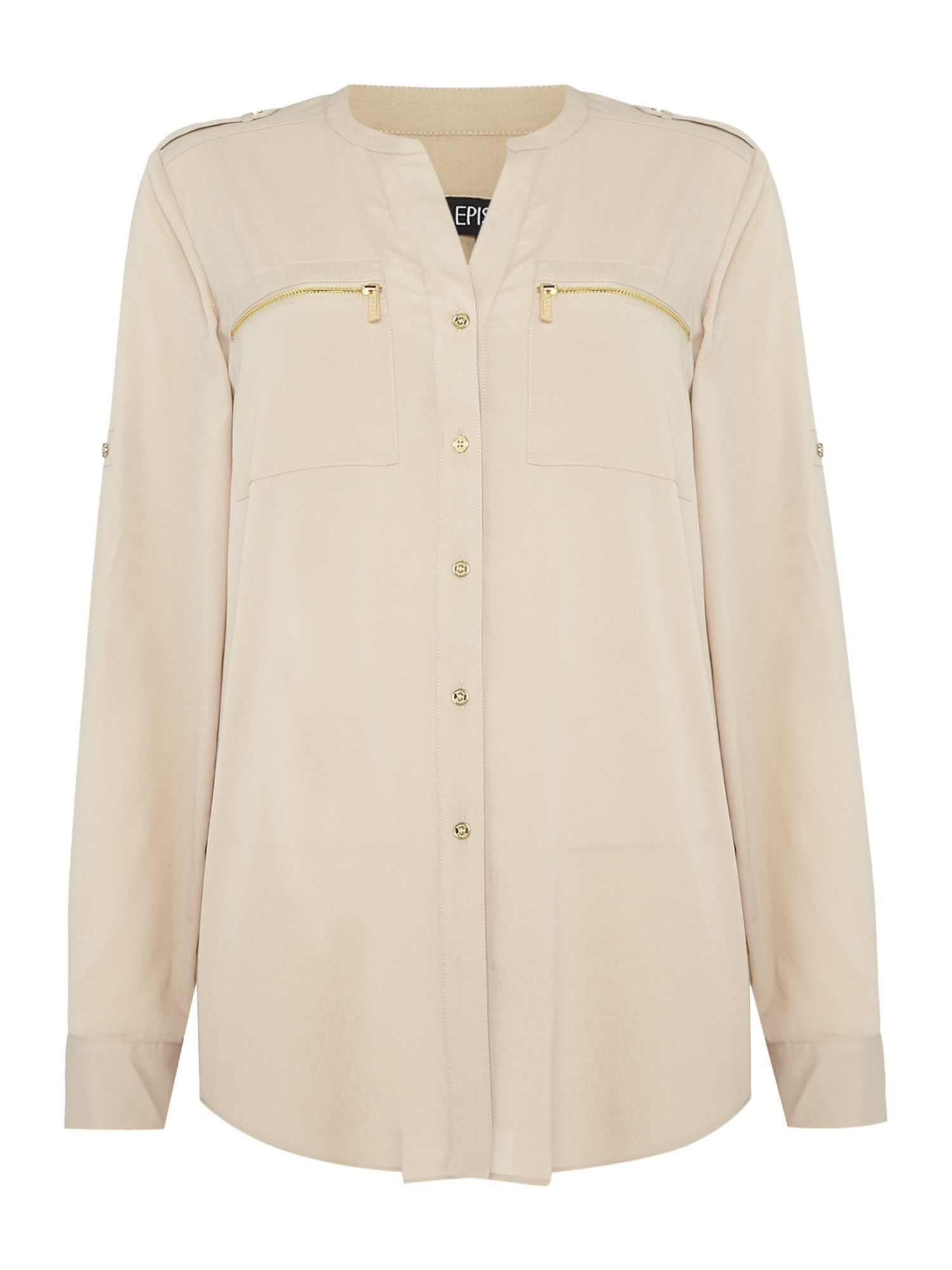 Episode Episode Zip Pocket Shirt, Latte