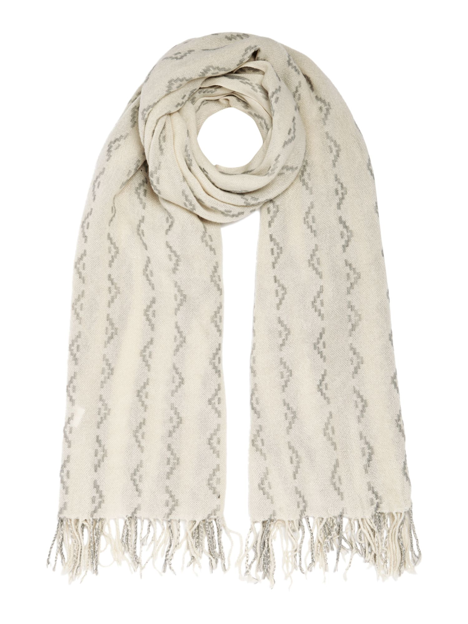 Gray & Willow Gray & Willow Mark Making Jacquard Scarf, Cream