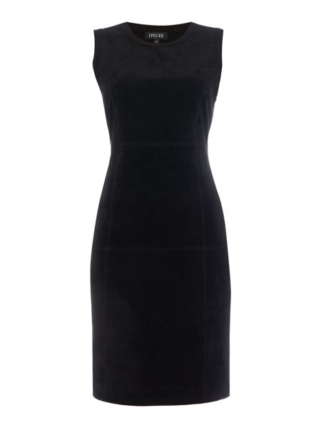 Episode Sleeveless sued dress with knitted back