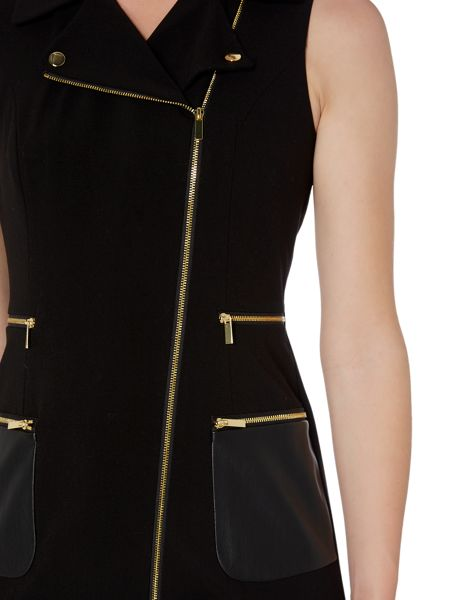 Episode Zip Up Detail PU Pocket Dress