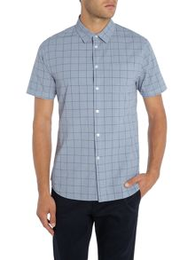 Linea Kyle Window Pane Print Short Sleeve Shirt