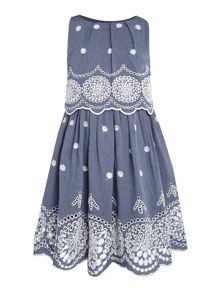 Angel & Rocket Girls Denim Broderie Dress