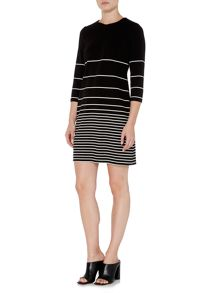 Episode 3/4 sleeve striped fit and flare dress