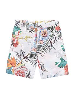 Girls Textured Tropical Print Shorts
