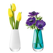 LSA Flower bud vase duo 14cm white & peacock